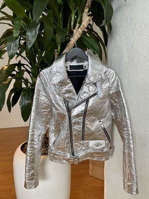 Silver vegan leather jacket
